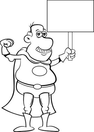 Black and white  illustration of an old man in a super hero costume making a muscle and holding a sign. 矢量图像