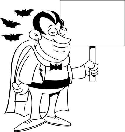 Black and white illustration of a vampire wearing a mask  while holding a sign and surrounded by bats. 矢量图像