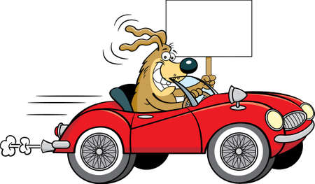 Cartoon illustration of a dog driving a convertible sports car with wire wheels while holding a sign.