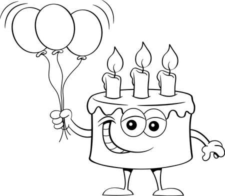 Black and white illustration of a happy birthday cake holding a bunch of balloons.