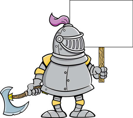 Cartoon illustration of a knight wearing a helmet while holding a sign and a battle axe. 矢量图像