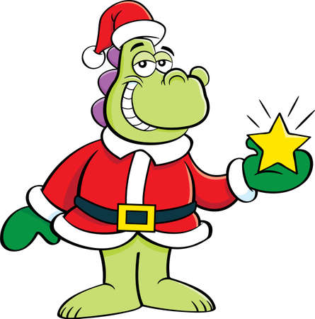 Cartoon illustration of a dinosaur in a Santa Claus costume holding a star.