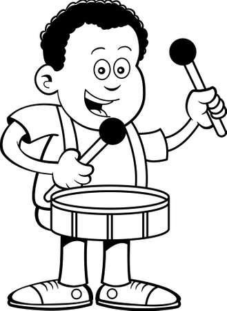 Black and white illustration of an African boy playing a drum. 矢量图像