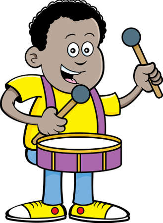 Cartoon illustration of an African boy playing a drum.