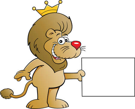 Cartoon illustration of a lion wearing a crown and holding a sign.
