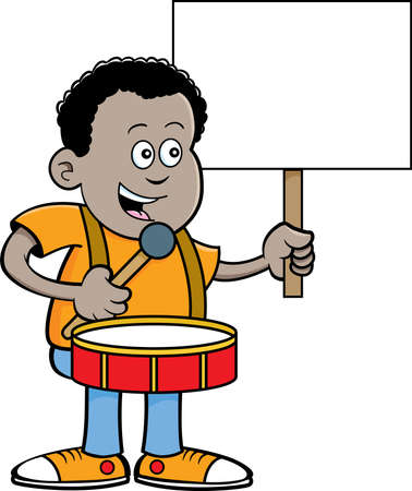 Cartoon illustration of an African boy playing a drum while holding a sign.