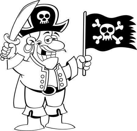 Black and white illustration of a smiling pirate holding a sword and a pirate flag.