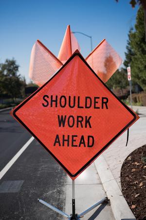 work ahead: Shoulder Work Ahead Sign