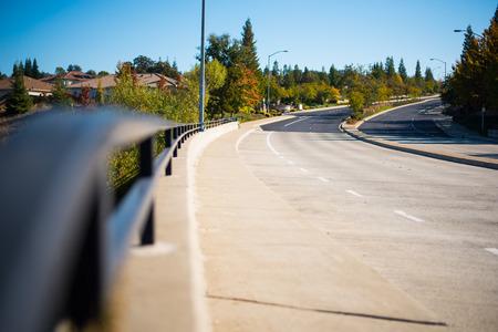 ガードレール、道路 写真素材
