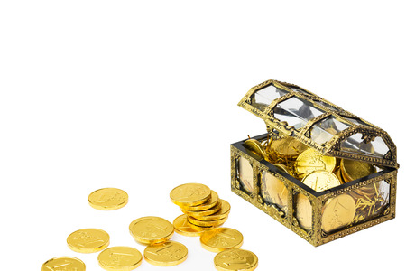 booty pirate: Old treasure-chest with Overflowing golden coins, isolated on the white background  Stock Photo