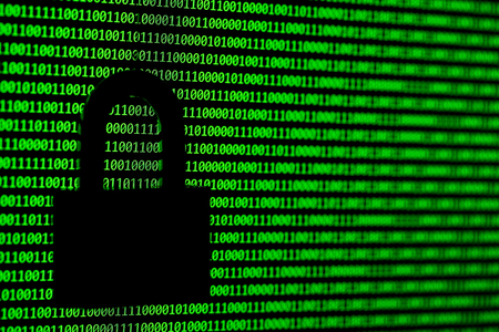 Hacker concept. computer binary codes and padlock .Green text on black background. Stock Photo