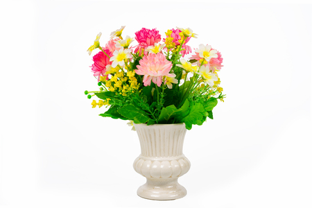 matherday: Multicolored flowers  in a vase, isolated on white background with clipping path.