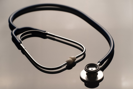 Close up of stethoscope with reflection,stethoscope for doctor and medical nursing people.