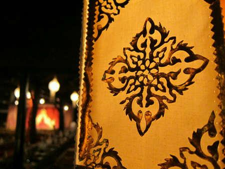 thai motifs: Thai style lantern in a restaurant  Chiang Mai.