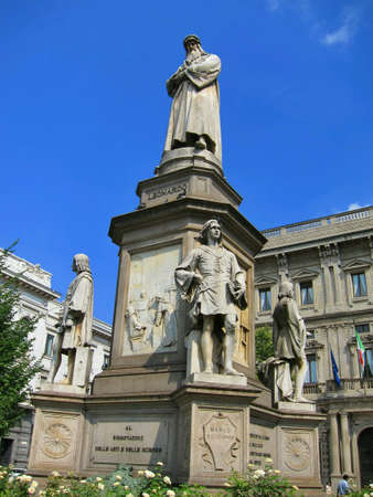 Monument to Leonardo da Vinci Piazza Della Scala Milan Italy.