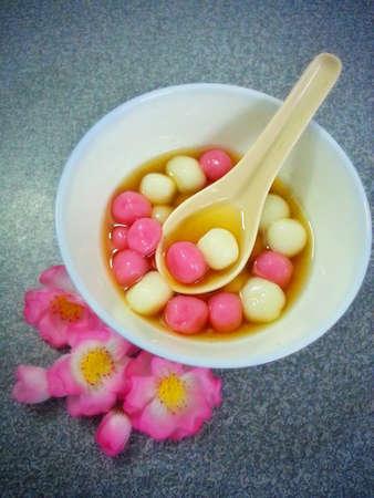 tang: A bowl of Tang Yuan - Chinese glutinous rice ball in syrup.