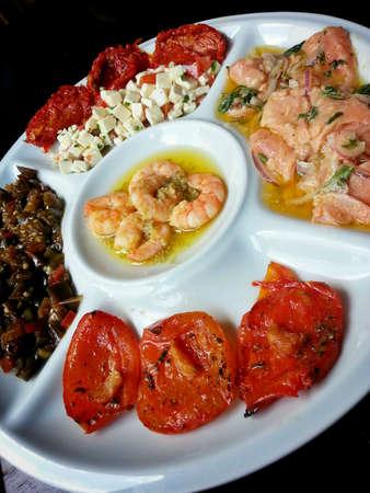 appetiser: A Mediterranean appetiser platter.