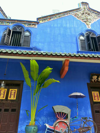 georgetown: Facade of Cheong Fatt Tze Mansion Blue Mansion, Georgetown, Penang, Malaysia.