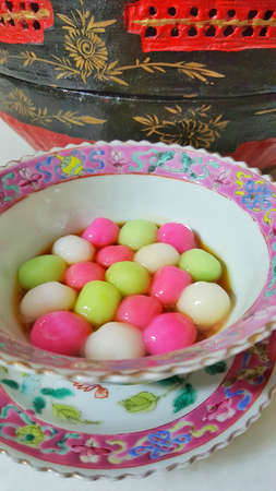 A bowl of Tang Yuan - Chinese glutinous rice ball in syrup.