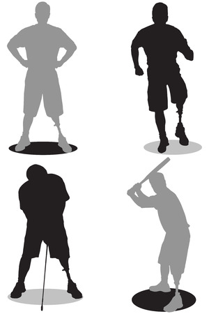 Amputee in silhouette in various stages of activities