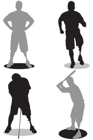 Amputé en silhouette à différents stades d'activités Banque d'images - 33533409