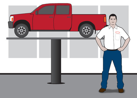 Mechanic standing in front of vehicle on hydraulic lift Ilustrace