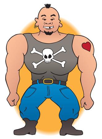 Tough looking, muscular cartoon biker
