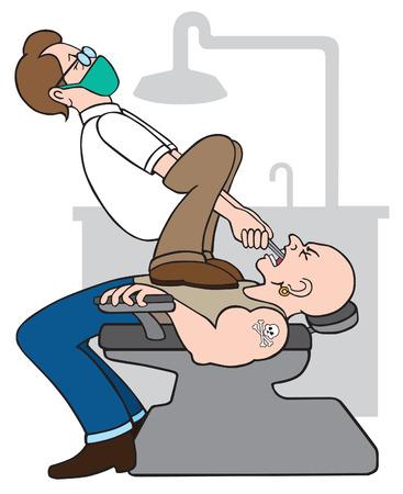 Dentista tratando de extraer los dientes de motorista duro Foto de archivo - 33533414