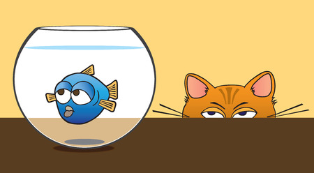 Cat stalking fish in bowl Illustration
