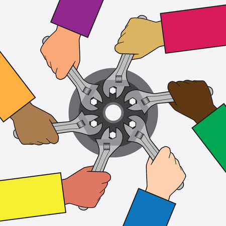 mutual assistance: Multiple ethnic groups working on same project Illustration