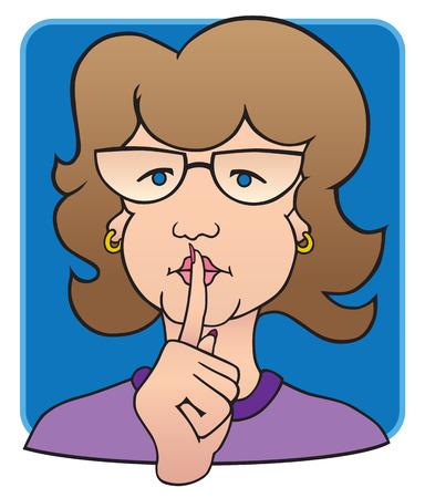 司書の唇に高める指  イラスト・ベクター素材