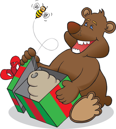 Christmas bear opening package and being surprised by bee