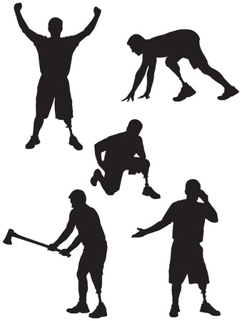 Amputee Silhouettes 2 in various activities