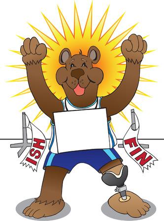Amputee bear just won the race Illustration