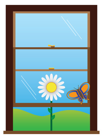 Butterfly trapped in open window Vector