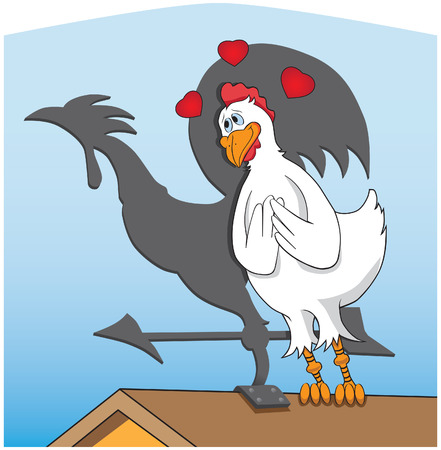 Chicken in love with weather vane