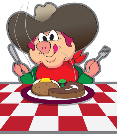 eager: Cowboy Pig Getting Ready To Eat