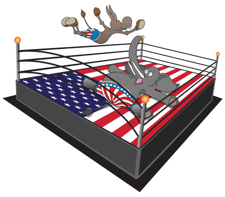 republican party: Dem smackdown. Democrat donkey doing swan dive on Republican elephant. Illustration