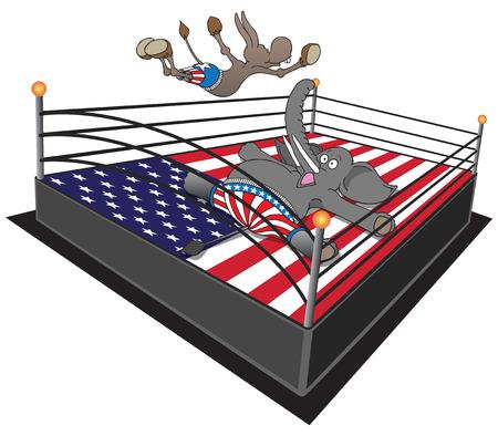 Dem smackdown. Democrat donkey doing swan dive on Republican elephant. Illustration
