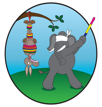 tied up: Republican elephant about to hit Democrat donkey with stick Illustration