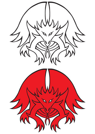 dragon tattoo design: Dragon tattoo design in red and black
