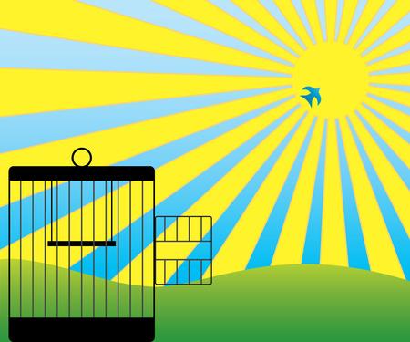 Bird flying toward sun after escaping from cage Illustration