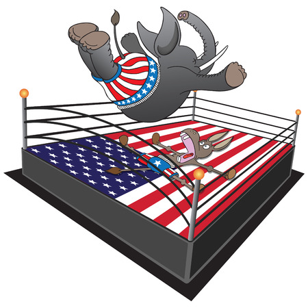 republican elephant: GOP Smackdown. Republican elephant doing swan dive on Democrat donkey. Illustration
