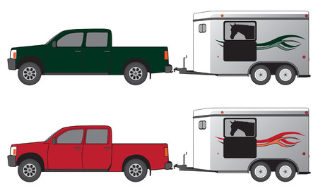 Pickup pulling horse trailer with horse inside Vector