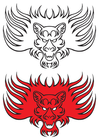 stealthy: Lion tattoo design in red and black