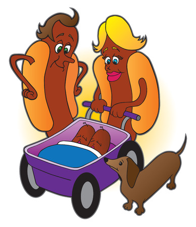 hot dog: Hot dog family with sausage babies and wiener dog