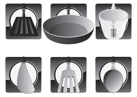 measuring spoon: Kitchen utensils including spatula, frying pan, measuring cup, knife, fork and spoon.