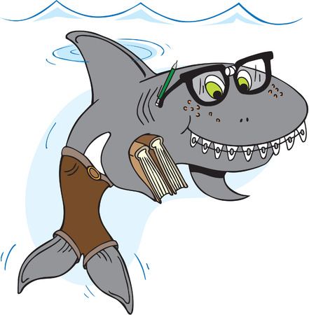 Nerd shark with glasses and braces carrying books