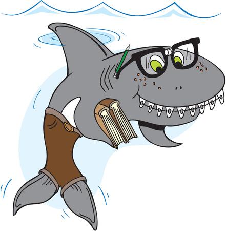 dientes caricatura: Tiburón del empollón con gafas y aparatos ortopédicos llevar libros Vectores