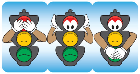 denial: Cartoon stop lights emulating see no evil, hear no evil, speak no evil